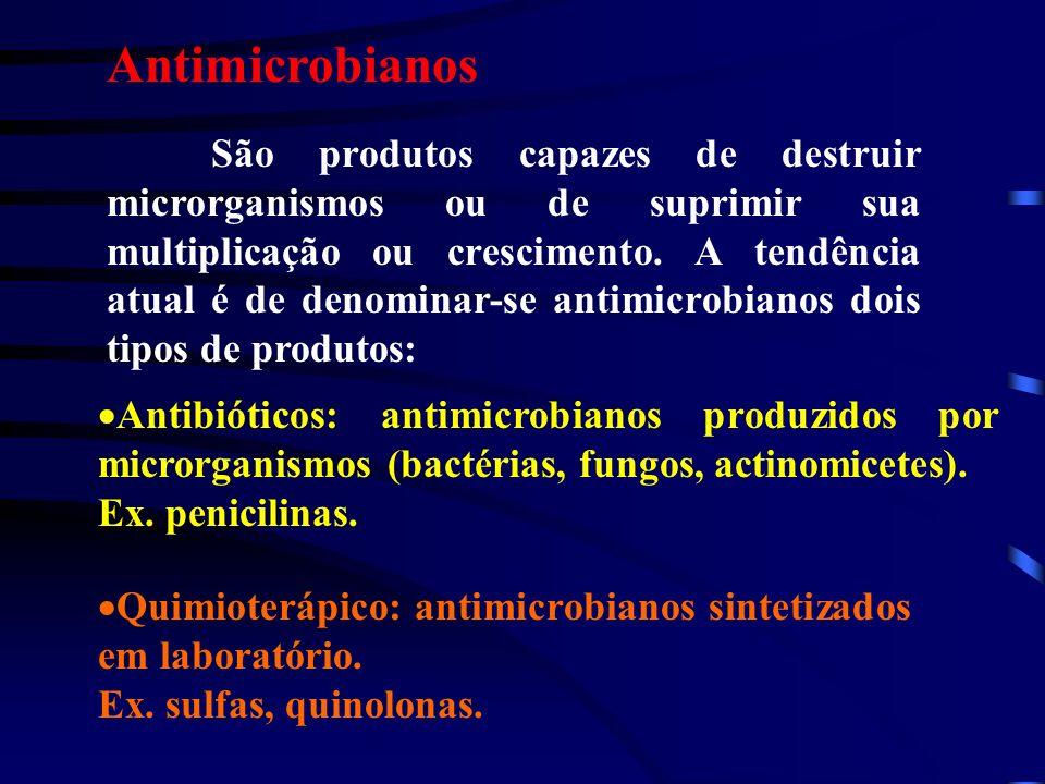 Antimicrobianos São produtos capazes de destruir microrganismos ou de suprimir sua multiplicação ou crescimento. A tendência atual é de denominar-se a