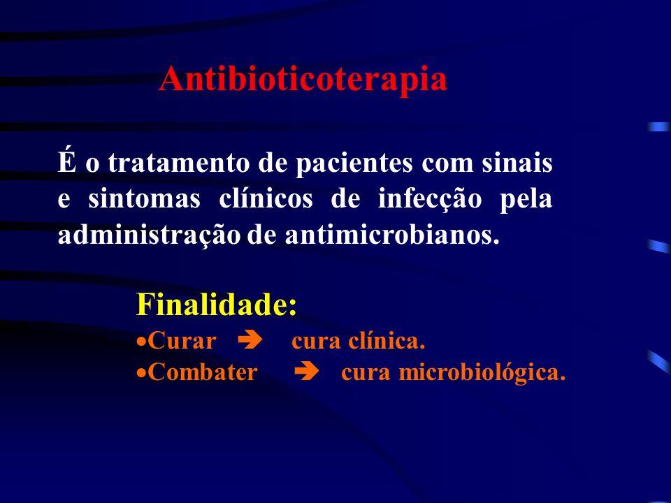 Antibioticoterapia É o tratamento de pacientes com sinais e sintomas clínicos de infecção pela administração de antimicrobianos. Finalidade: Curar cur