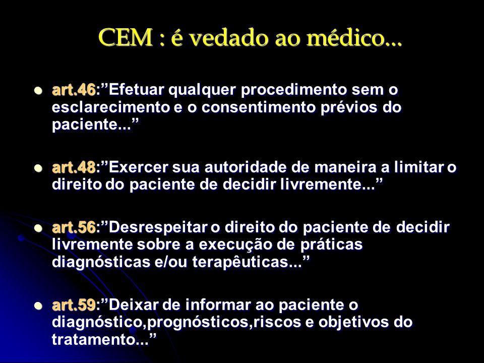 CEM : é vedado ao médico... art.46:Efetuar qualquer procedimento sem o esclarecimento e o consentimento prévios do paciente... art.46:Efetuar qualquer