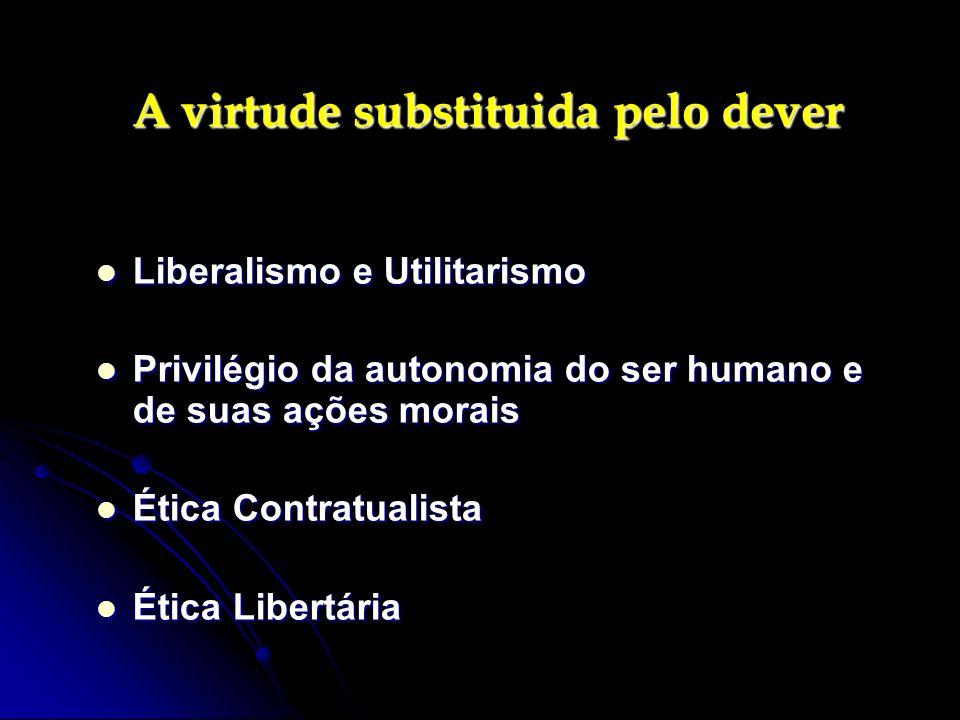 A virtude substituida pelo dever A virtude substituida pelo dever Liberalismo e Utilitarismo Liberalismo e Utilitarismo Privilégio da autonomia do ser