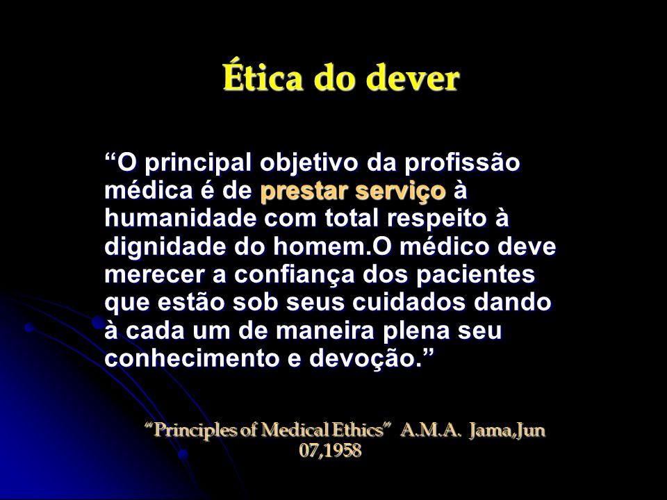 Ética do dever O principal objetivo da profissão médica é de prestar serviço à humanidade com total respeito à dignidade do homem.O médico deve merece