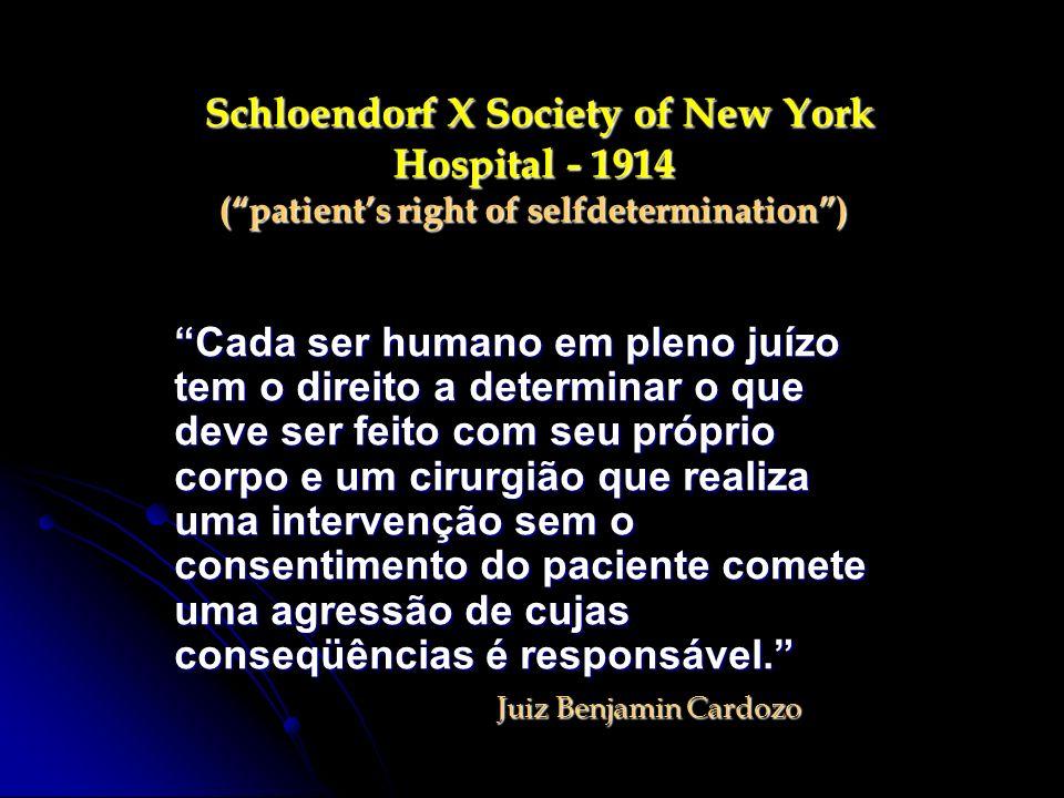 Schloendorf X Society of New York Hospital - 1914 (patients right of selfdetermination) Schloendorf X Society of New York Hospital - 1914 (patients ri