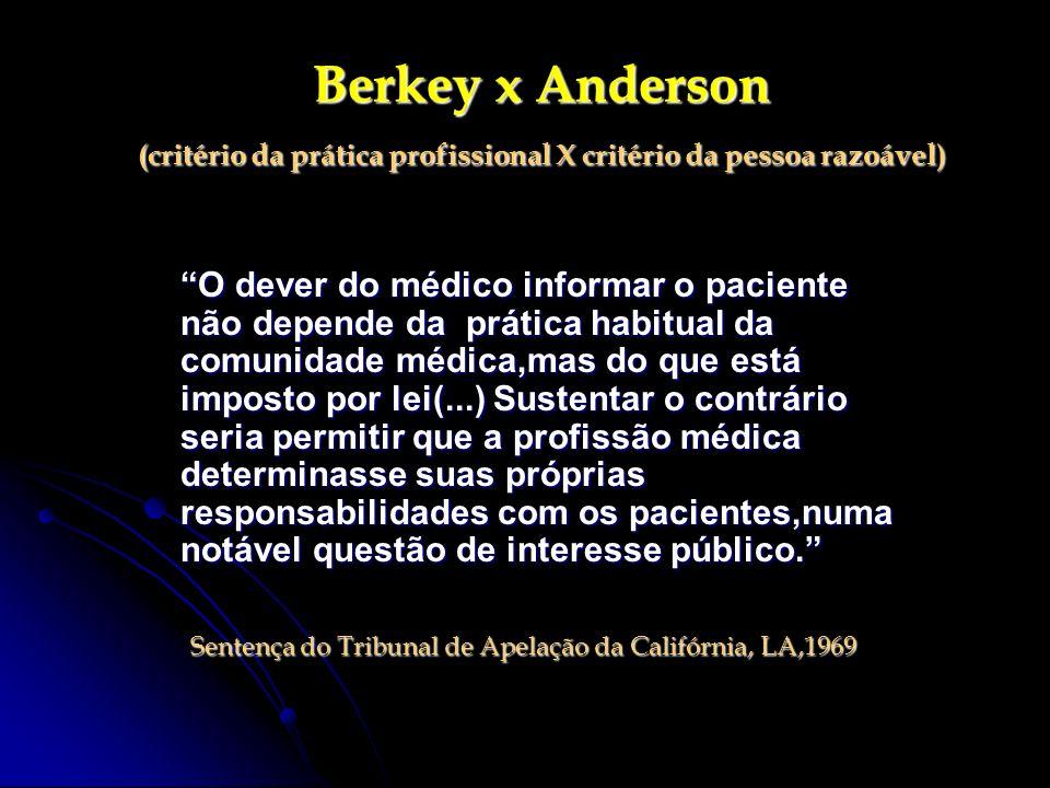 Berkey x Anderson (critério da prática profissional X critério da pessoa razoável) O dever do médico informar o paciente não depende da prática habitu