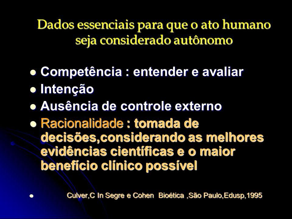 Dados essenciais para que o ato humano seja considerado autônomo Competência : entender e avaliar Competência : entender e avaliar Intenção Intenção A
