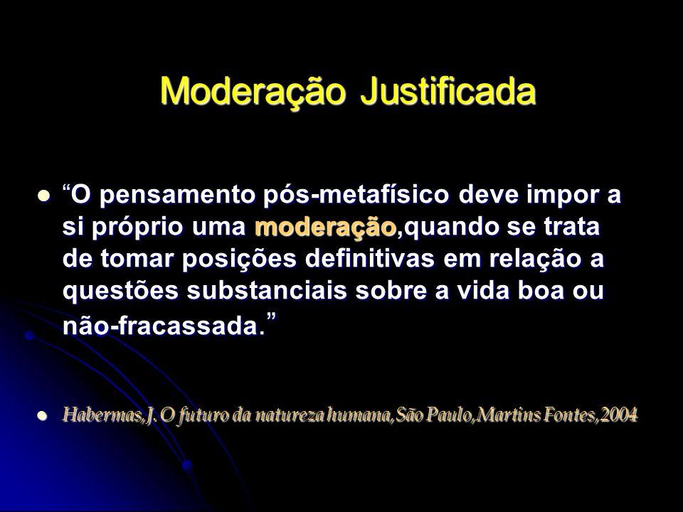 Moderação Justificada O pensamento pós-metafísico deve impor a si próprio uma moderação,quando se trata de tomar posições definitivas em relação a que