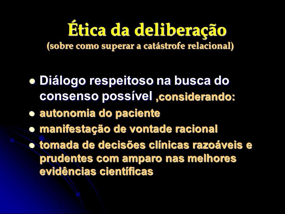 Ética da deliberação (sobre como superar a catástrofe relacional) Ética da deliberação (sobre como superar a catástrofe relacional) Diálogo respeitoso