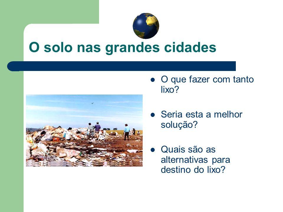 O solo nas grandes cidades O que fazer com tanto lixo? Seria esta a melhor solução? Quais são as alternativas para destino do lixo?