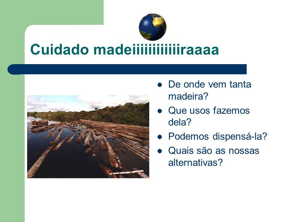 Cuidado madeiiiiiiiiiiiiraaaa De onde vem tanta madeira? Que usos fazemos dela? Podemos dispensá-la? Quais são as nossas alternativas?