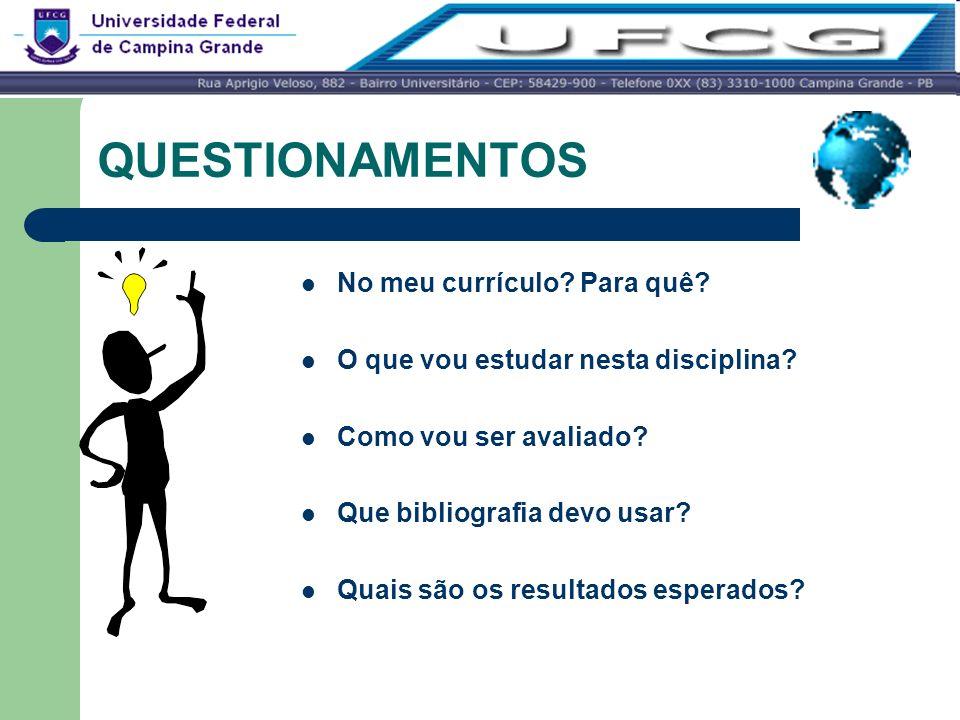 QUESTIONAMENTOS No meu currículo? Para quê? O que vou estudar nesta disciplina? Como vou ser avaliado? Que bibliografia devo usar? Quais são os result