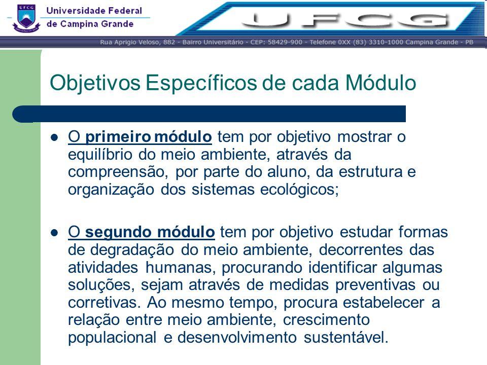 Objetivos Específicos de cada Módulo O primeiro módulo tem por objetivo mostrar o equilíbrio do meio ambiente, através da compreensão, por parte do al