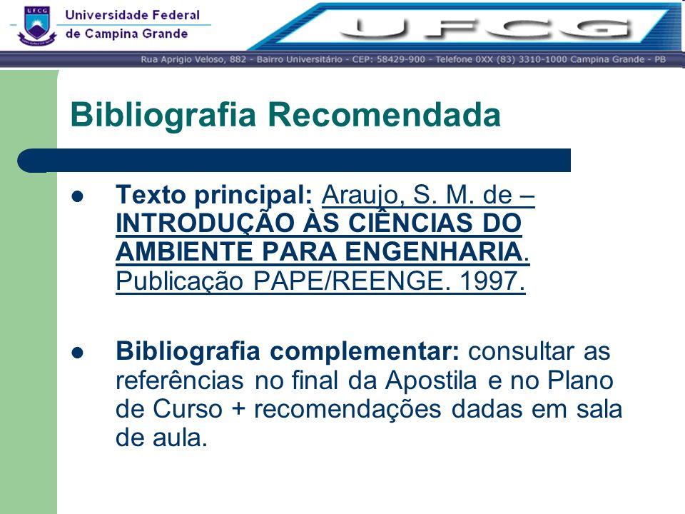 Bibliografia Recomendada Texto principal: Araujo, S. M. de – INTRODUÇÃO ÀS CIÊNCIAS DO AMBIENTE PARA ENGENHARIA. Publicação PAPE/REENGE. 1997. Bibliog