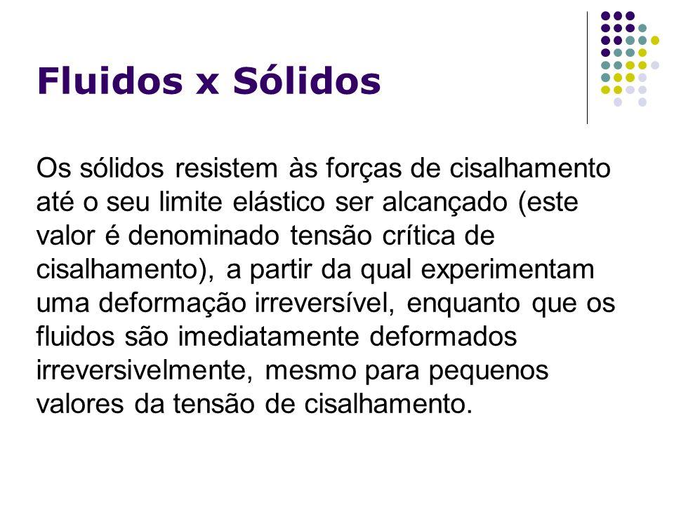 Fluidos x Sólidos Os sólidos resistem às forças de cisalhamento até o seu limite elástico ser alcançado (este valor é denominado tensão crítica de cis