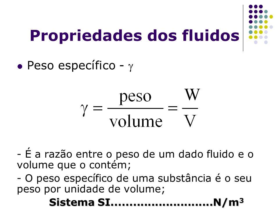 Propriedades dos fluidos Peso específico - - É a razão entre o peso de um dado fluido e o volume que o contém; - O peso específico de uma substância é