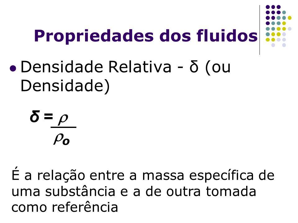 Propriedades dos fluidos Densidade Relativa - δ (ou Densidade) É a relação entre a massa específica de uma substância e a de outra tomada como referên