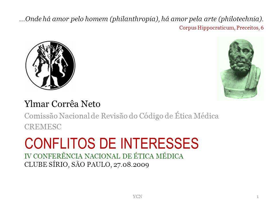 CONFLITOS DE INTERESSES IV CONFERÊNCIA NACIONAL DE ÉTICA MÉDICA CLUBE SÍRIO, SÃO PAULO, 27.08.2009 Ylmar Corrêa Neto Comissão Nacional de Revisão do C