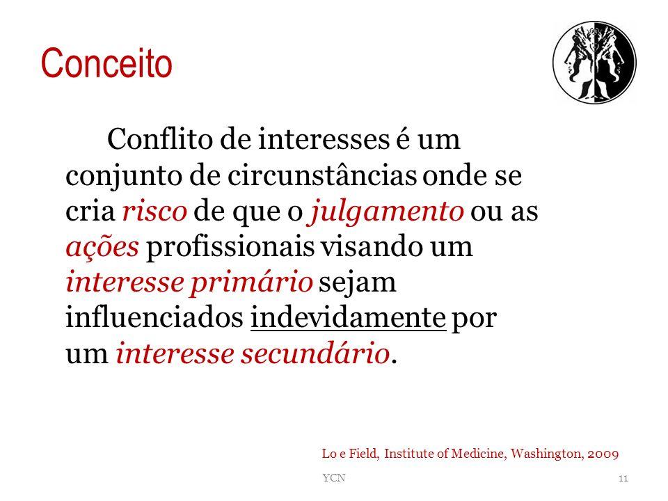 Conceito Conflito de interesses é um conjunto de circunstâncias onde se cria risco de que o julgamento ou as ações profissionais visando um interesse