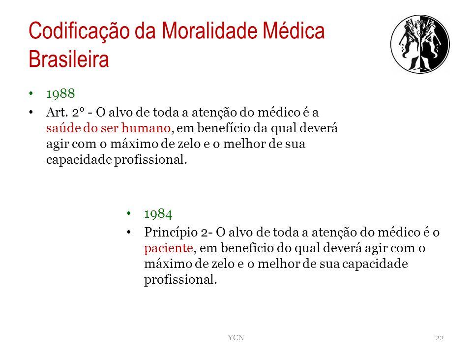 Codificação da Moralidade Médica Brasileira 1988 Art. 2° - O alvo de toda a atenção do médico é a saúde do ser humano, em benefício da qual deverá agi