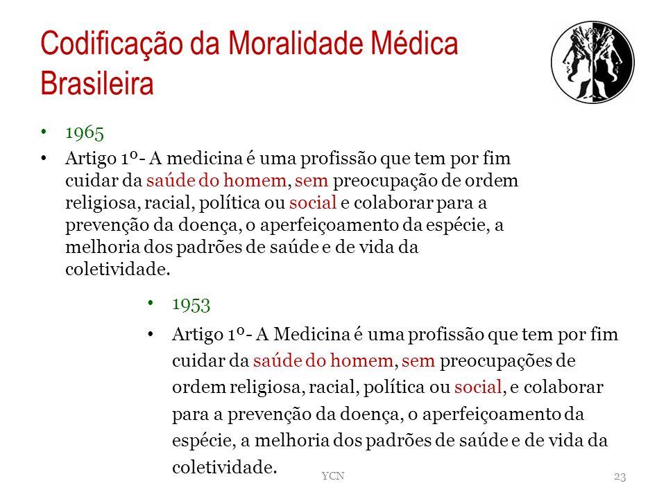 Codificação da Moralidade Médica Brasileira 1965 Artigo 1º- A medicina é uma profissão que tem por fim cuidar da saúde do homem, sem preocupação de or