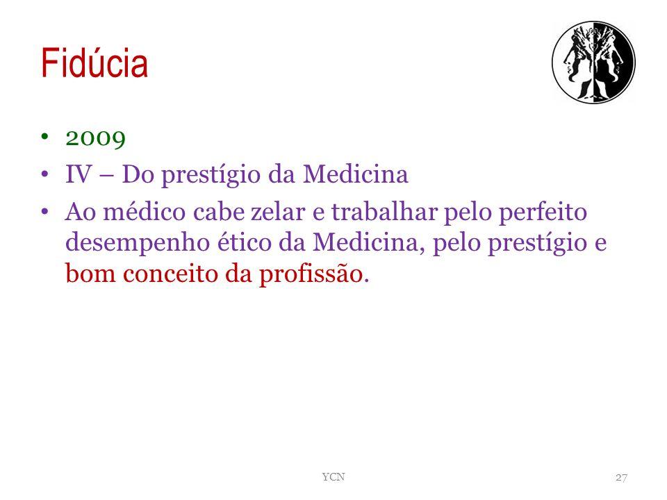 Fidúcia 2009 IV – Do prestígio da Medicina Ao médico cabe zelar e trabalhar pelo perfeito desempenho ético da Medicina, pelo prestígio e bom conceito