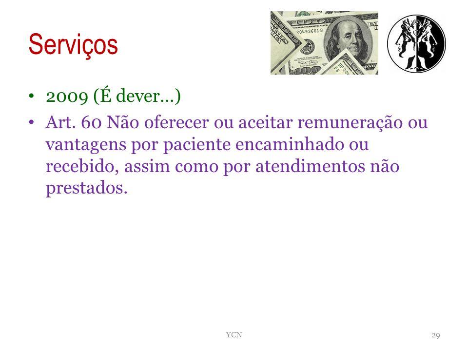 Serviços 2009 (É dever...) Art. 60 Não oferecer ou aceitar remuneração ou vantagens por paciente encaminhado ou recebido, assim como por atendimentos