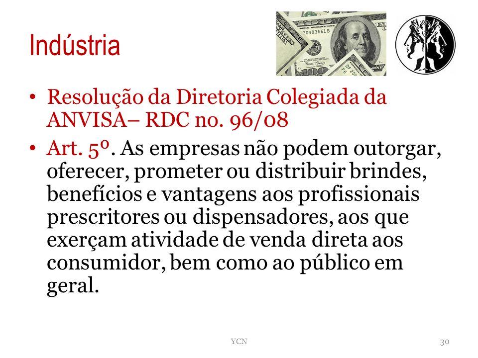 Indústria Resolução da Diretoria Colegiada da ANVISA– RDC no. 96/08 Art. 5º. As empresas não podem outorgar, oferecer, prometer ou distribuir brindes,