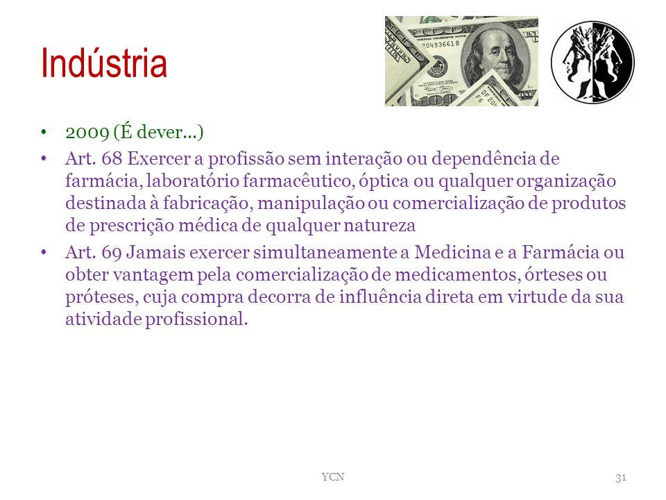 Indústria 2009 (É dever...) Art. 68 Exercer a profissão sem interação ou dependência de farmácia, laboratório farmacêutico, óptica ou qualquer organiz