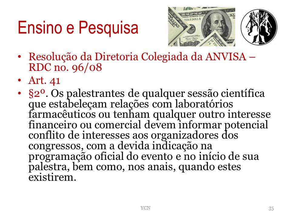 Ensino e Pesquisa Resolução da Diretoria Colegiada da ANVISA – RDC no. 96/08 Art. 41 §2º. Os palestrantes de qualquer sessão científica que estabeleça