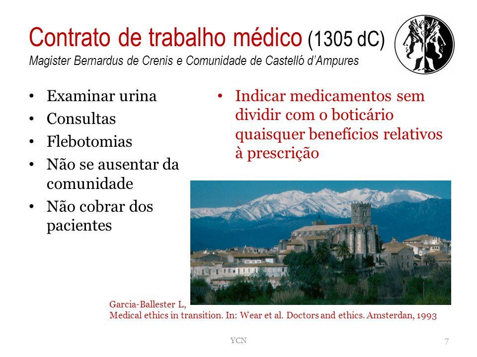 Contrato de trabalho médico (1305 dC) Magister Bernardus de Crenis e Comunidade de Castelló dAmpures Examinar urina Consultas Flebotomias Não se ausen