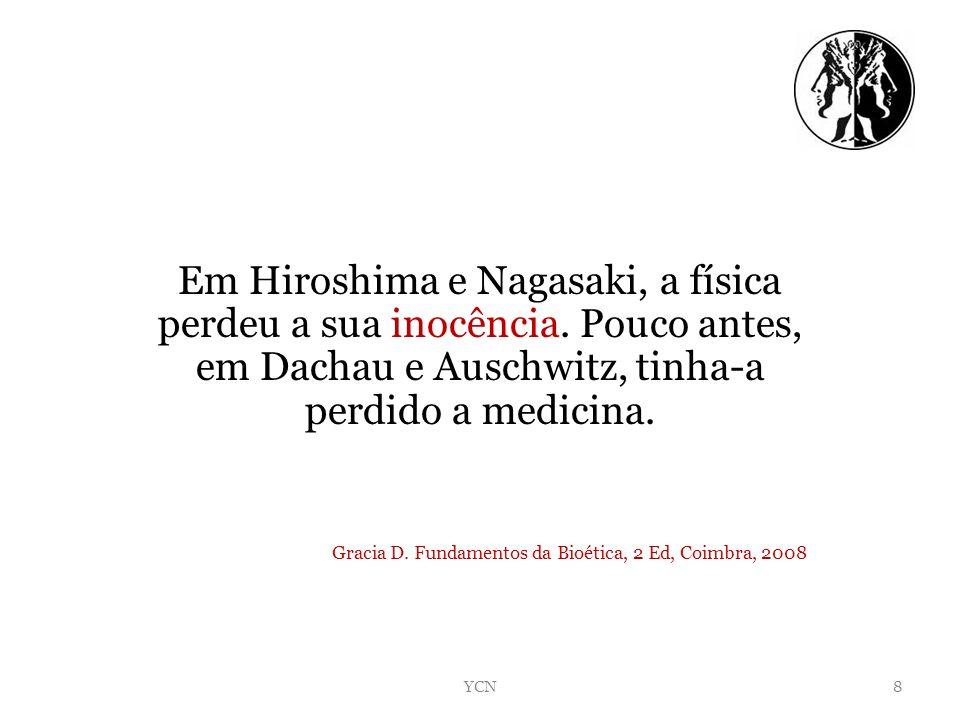 Em Hiroshima e Nagasaki, a física perdeu a sua inocência. Pouco antes, em Dachau e Auschwitz, tinha-a perdido a medicina. Gracia D. Fundamentos da Bio
