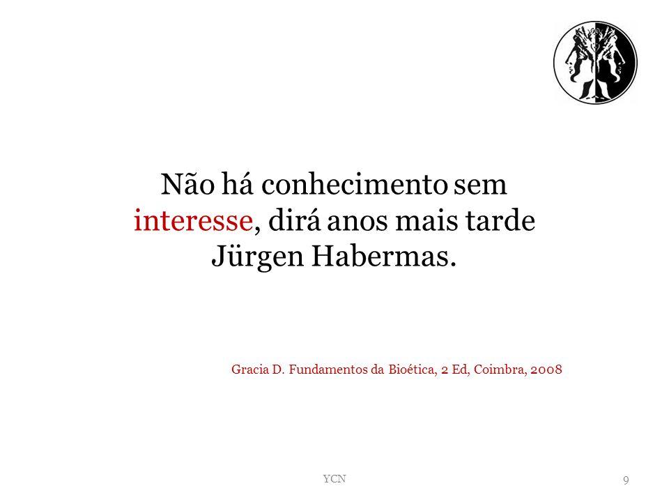 Não há conhecimento sem interesse, dirá anos mais tarde Jürgen Habermas. Gracia D. Fundamentos da Bioética, 2 Ed, Coimbra, 2008 YCN9