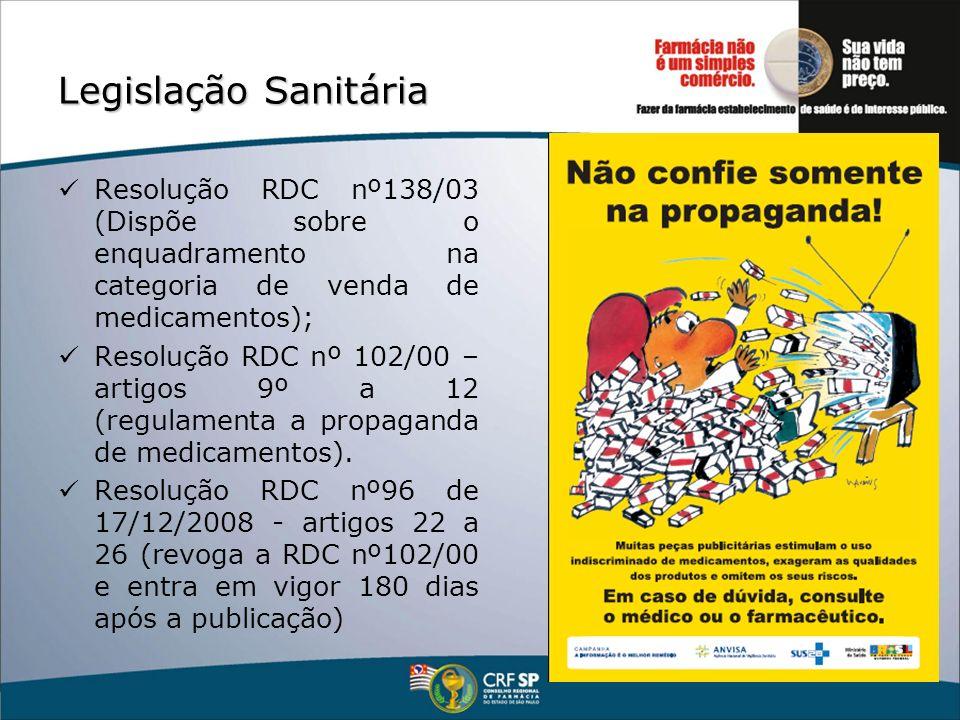 Legislação Sanitária Resolução RDC nº138/03 (Dispõe sobre o enquadramento na categoria de venda de medicamentos); Resolução RDC nº 102/00 – artigos 9º
