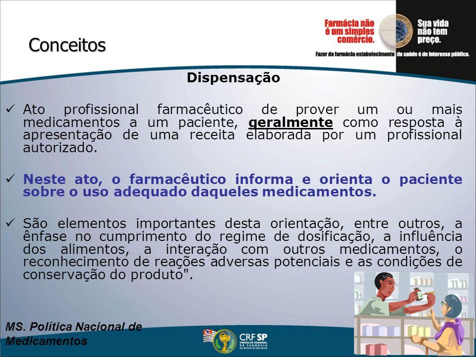 Conceitos Dispensação Ato profissional farmacêutico de prover um ou mais medicamentos a um paciente, geralmente como resposta à apresentação de uma re