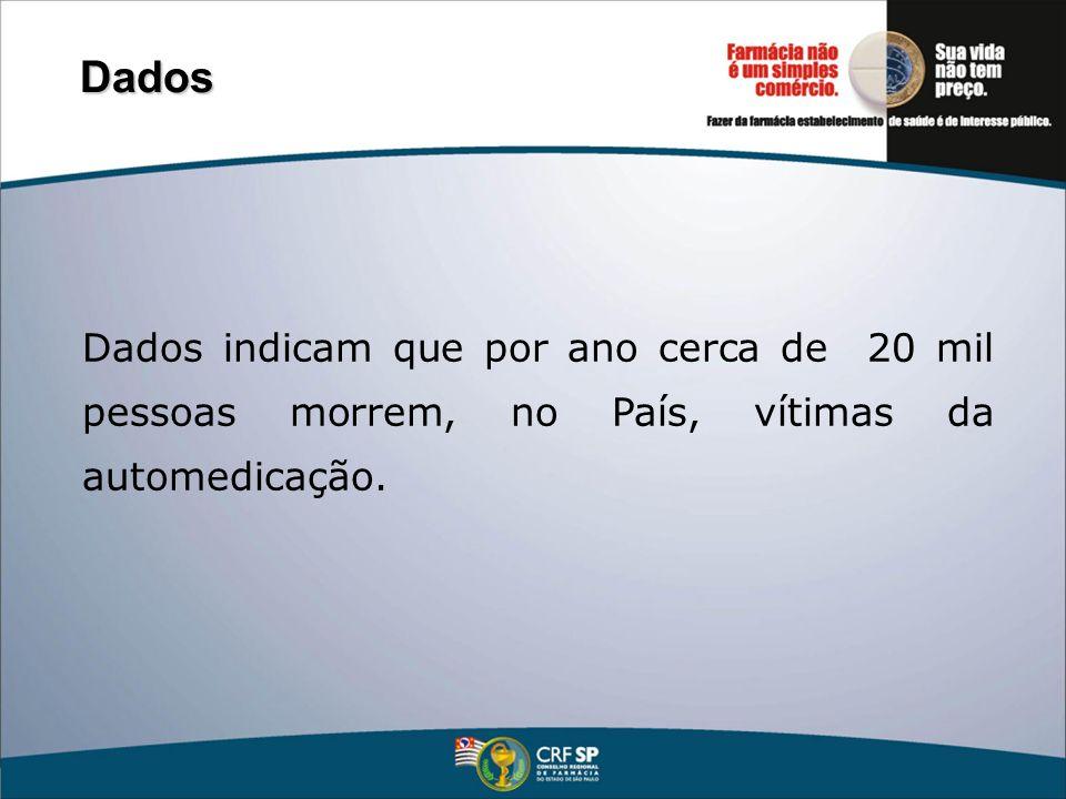Dados indicam que por ano cerca de 20 mil pessoas morrem, no País, vítimas da automedicação. Dados