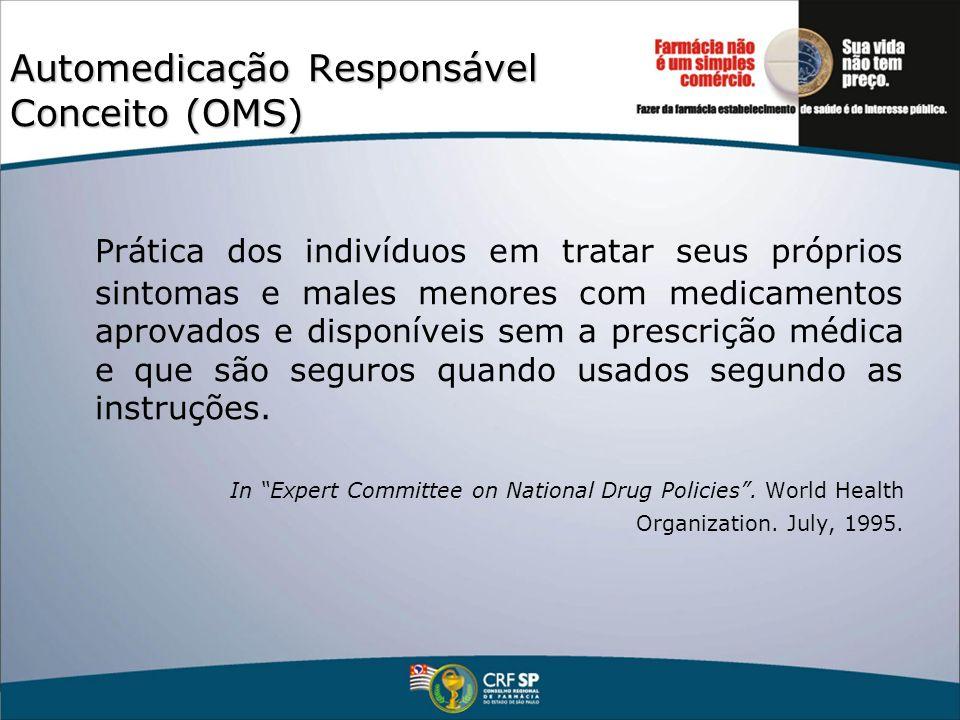 Automedicação Responsável Conceito (OMS) Prática dos indivíduos em tratar seus próprios sintomas e males menores com medicamentos aprovados e disponív