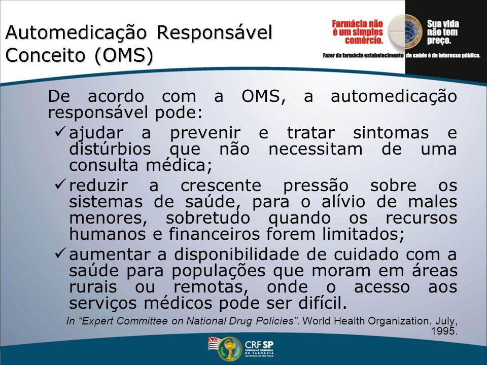 Automedicação Responsável Conceito (OMS) De acordo com a OMS, a automedicação responsável pode: ajudar a prevenir e tratar sintomas e distúrbios que n