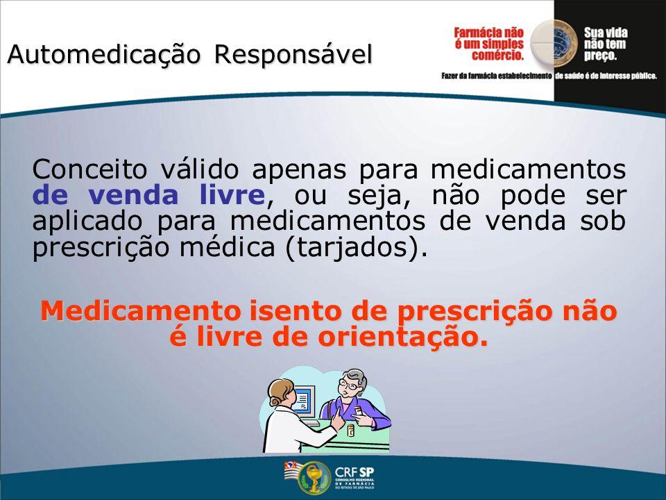Automedicação Responsável Conceito válido apenas para medicamentos de venda livre, ou seja, não pode ser aplicado para medicamentos de venda sob presc