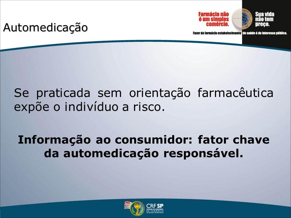 Automedicação Se praticada sem orientação farmacêutica expõe o indivíduo a risco. Informação ao consumidor: fator chave da automedicação responsável.