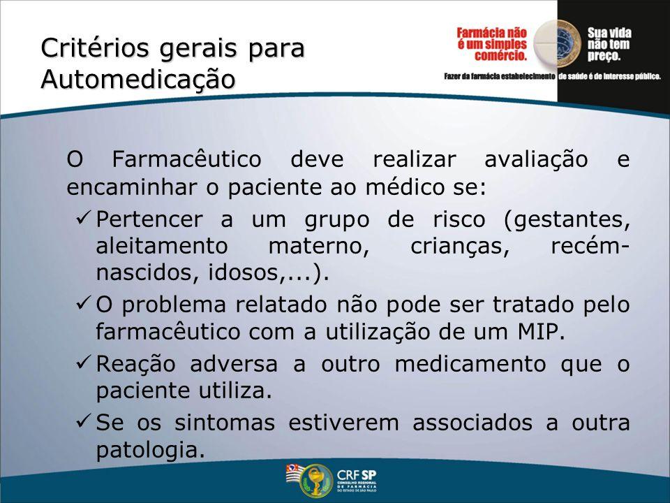 Critérios gerais para Automedicação O Farmacêutico deve realizar avaliação e encaminhar o paciente ao médico se: Pertencer a um grupo de risco (gestan