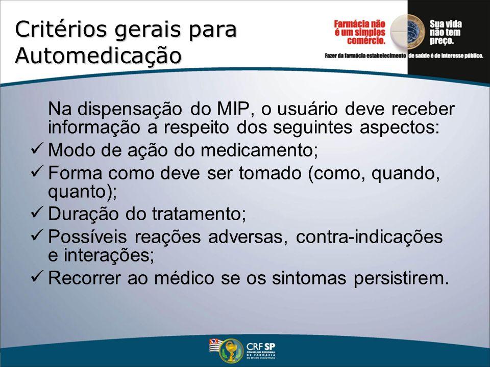Critérios gerais para Automedicação Na dispensação do MIP, o usuário deve receber informação a respeito dos seguintes aspectos: Modo de ação do medica