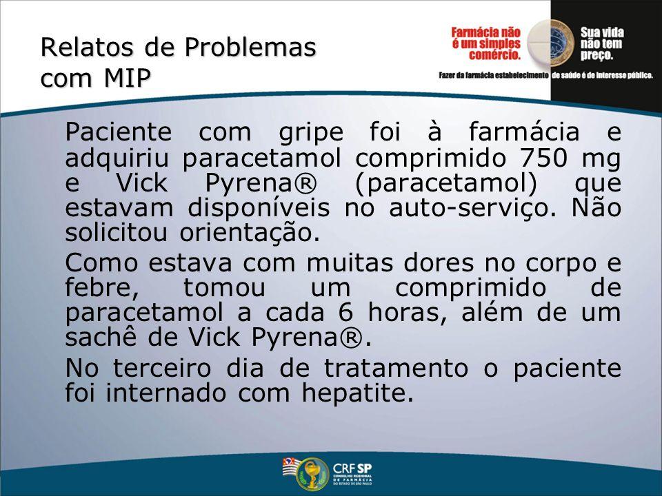 Relatos de Problemas com MIP Paciente com gripe foi à farmácia e adquiriu paracetamol comprimido 750 mg e Vick Pyrena® (paracetamol) que estavam dispo