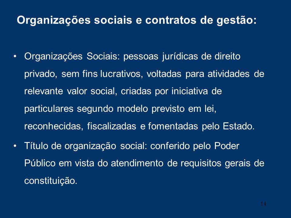 14 Organizações sociais e contratos de gestão: Organizações Sociais: pessoas jurídicas de direito privado, sem fins lucrativos, voltadas para atividad
