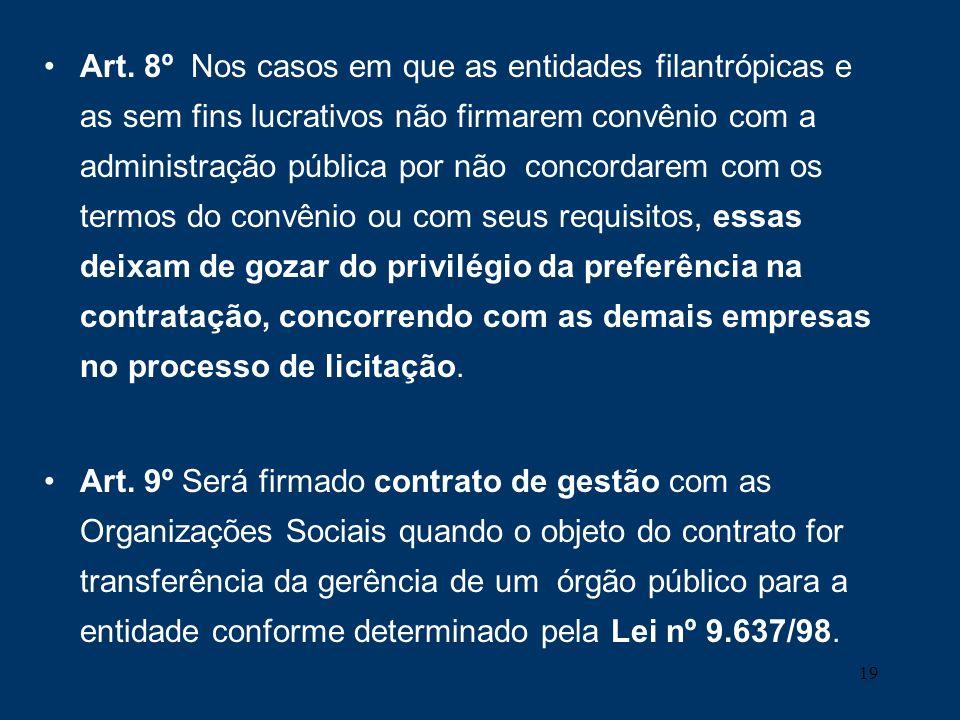 19 Art. 8º Nos casos em que as entidades filantrópicas e as sem fins lucrativos não firmarem convênio com a administração pública por não concordarem
