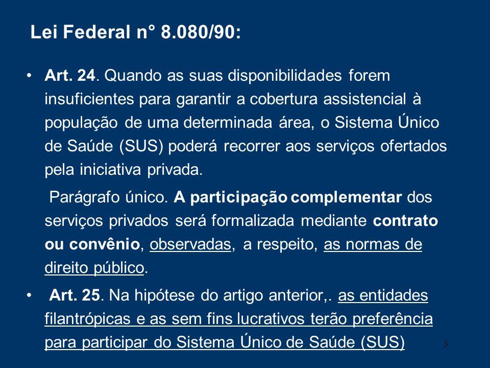 3 Lei Federal n° 8.080/90: Art. 24. Quando as suas disponibilidades forem insuficientes para garantir a cobertura assistencial à população de uma dete