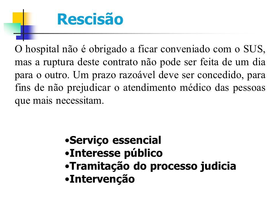 O hospital não é obrigado a ficar conveniado com o SUS, mas a ruptura deste contrato não pode ser feita de um dia para o outro.