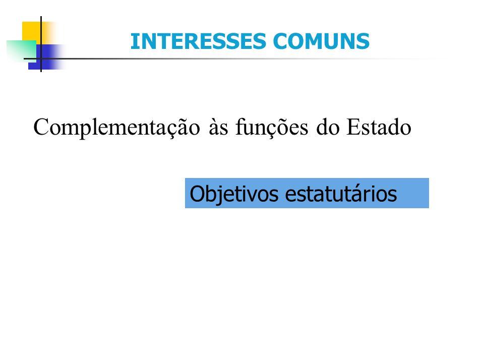 Complementação às funções do Estado INTERESSES COMUNS Objetivos estatutários