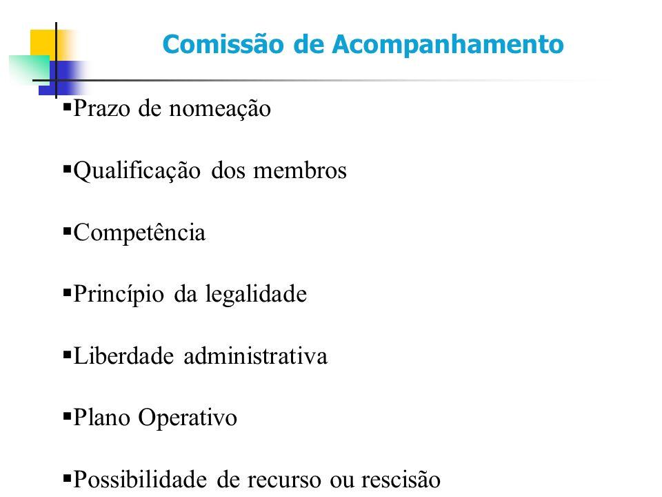 Prazo de nomeação Qualificação dos membros Competência Princípio da legalidade Liberdade administrativa Plano Operativo Possibilidade de recurso ou rescisão Comissão de Acompanhamento