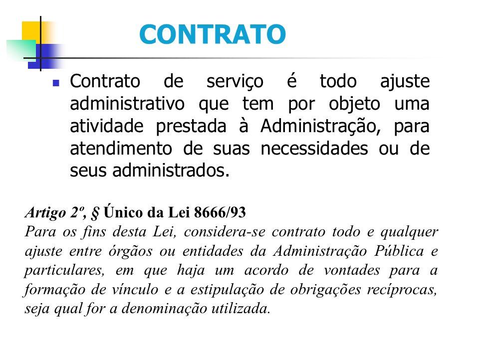 CONTRATO Contrato de serviço é todo ajuste administrativo que tem por objeto uma atividade prestada à Administração, para atendimento de suas necessidades ou de seus administrados.