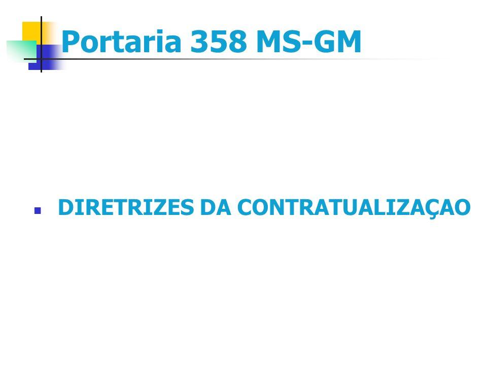 Portaria 358 MS-GM DIRETRIZES DA CONTRATUALIZAÇAO