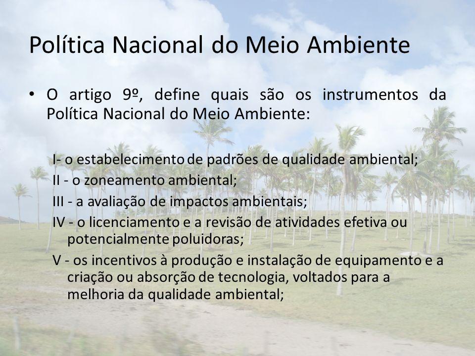 Política Nacional do Meio Ambiente O artigo 9º, define quais são os instrumentos da Política Nacional do Meio Ambiente: I- o estabelecimento de padrõe