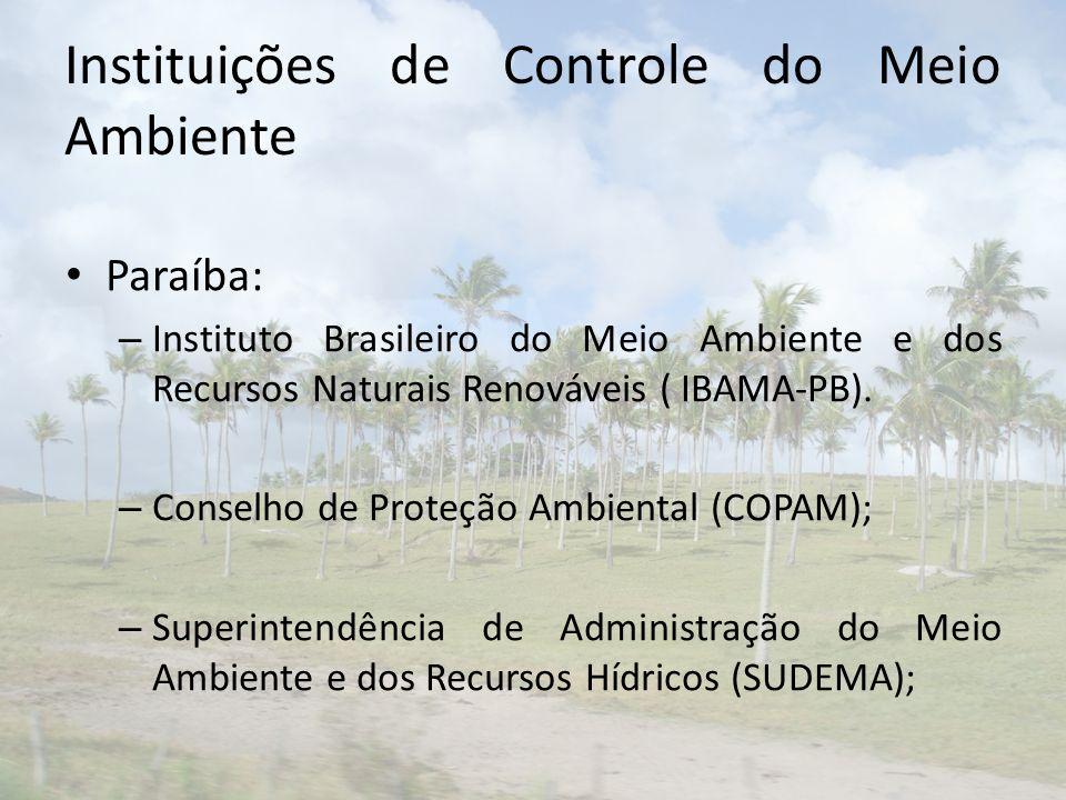 Instituições de Controle do Meio Ambiente Paraíba: – Instituto Brasileiro do Meio Ambiente e dos Recursos Naturais Renováveis ( IBAMA-PB). – Conselho